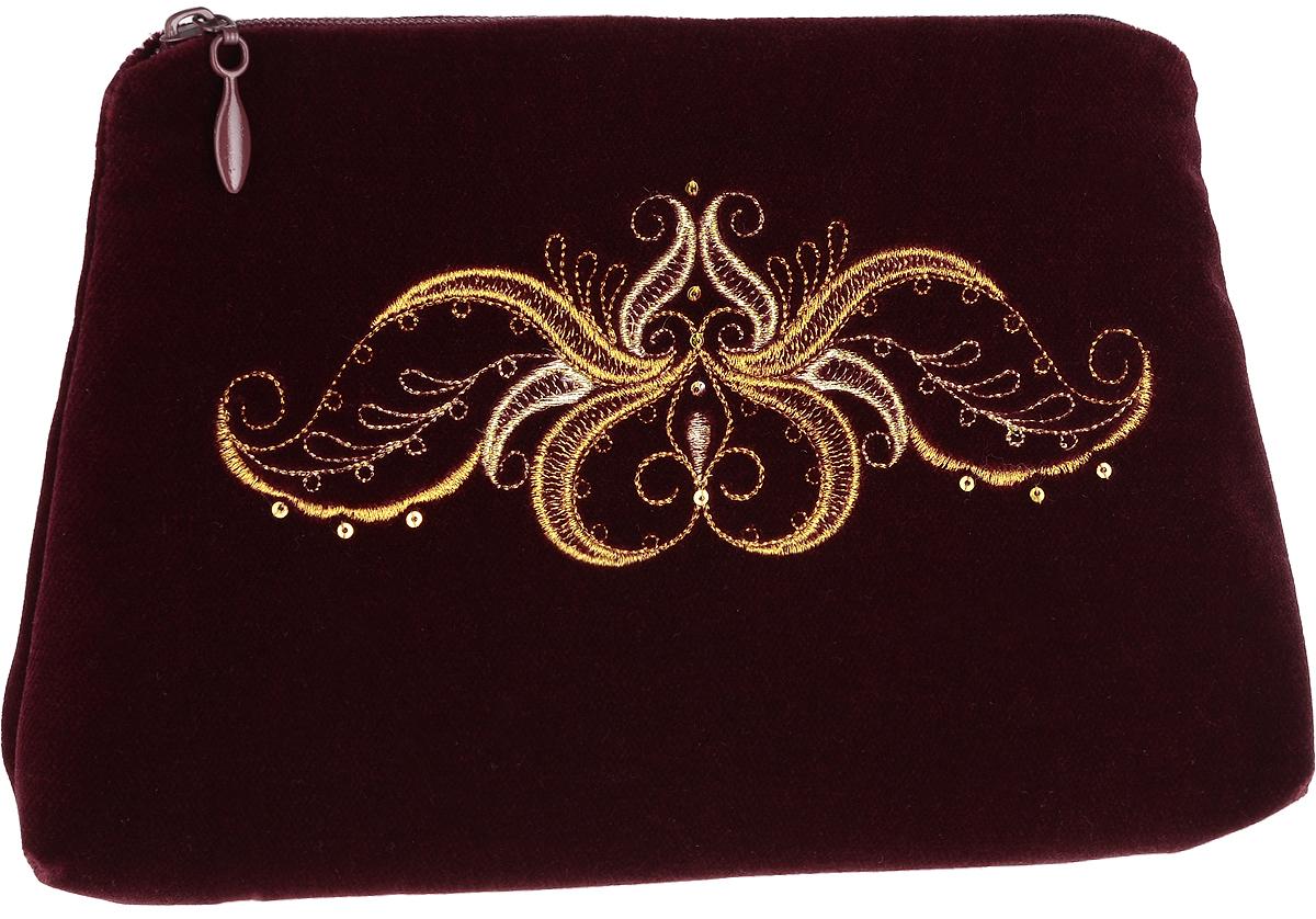 Сумочка театральная. Бархат цвета бордо, вышивка. Размер 22 х 15 см. Торжокские золотошвеи, Россия