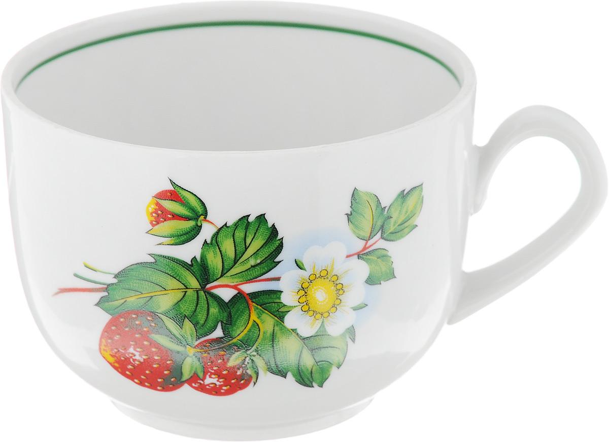 Чашка чайная Фарфор Вербилок Август. Земляника, 300 мл767253К_земляникаЧашка Фарфор Вербилок Август. Земляника способна украсить любое чаепитие. Изделие выполнено из высококачественного фарфора. Посуда из такого материала позволяет сохранить истинный вкус напитка, а также помогает ему дольше оставаться теплым. Внешние стенки дополнены красочным изображением ягод. Диаметр по верхнему краю: 8,5 см. Высота чашки: 6,5 см.
