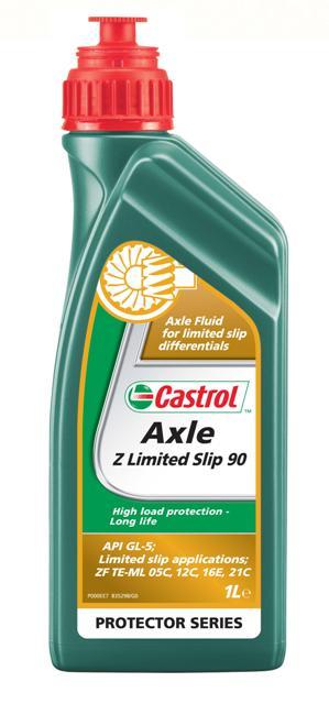 """Трансмиссионное масло для мостов Castrol Axle Z Limited slip 90,1 л157B18Описание Castrol Axle Z Limited Slip 90 – трансмиссионное масло на минеральной основе для самоблокирующихся дифференциалов автомобилей и коммерческой техники, где требуются смазочные материалы, соответствующие классификации API GL-5 со специфическими характеристиками трения ограниченного скольжения. Также может использоваться в обычных дифференциалах. Одобрено ZF для применения в многодисковых """"мокрых"""" тормозах и самоблокирующихся дифференциалах, используемых в ряде коммерческих автомобилей, включая мосты внедорожной и сельскохозяйственной техники. Преимущества • Оптимальные и стабильные фрикционные характеристики обеспечивают эффективную работу дифференциалов повышенного трения на протяжении всего интервала между заменами масла. • Очень хорошая защита от износа, даже в жёстких условиях эксплуатации, продлевает срок службы деталей. • Специально разработано в соответствии с требованиями ZF к смазочным материалам, используемых в """"мокрых"""" тормозах и самоблокирующихся дифференциалах...."""