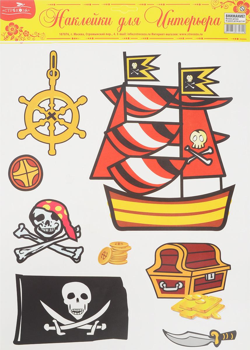 Украшение для стен и предметов интерьера Стрекоза Пираты4620758630722Украшение Стрекоза Пираты для стен и предметов интерьера поможет украсить ваш дом в преддверии праздника. На одном листе расположены наклейки в пиратском стиле с кораблем, сокровищами и флагом с изображением черепов. Наклейки Пираты - это наклейки многоразового использования. Придумав новую композицию и выбрав новое место в доме, вы легко сможете переклеить наклейки снова и снова, ведь они не повреждают поверхность и не оставляют следов. Наклейки прекрасно украсят стены, окна, двери, кафельную плитку, зеркала и другие поверхности. Состав: пленка самоклеящаяся, водостойкая. Размер листа: 42,5 х 31 см. Количество наклеек на листе: 8 шт.