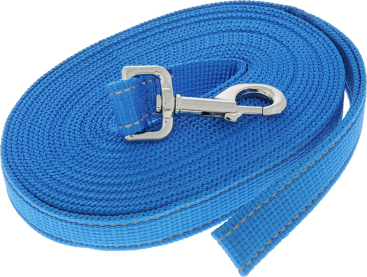 Поводок капроновый для собак Аркон, цвет: темно-голубой, ширина 2,5 см, длина 7 мпк7м25_темно-голубойПоводок для собак Аркон изготовлен из высококачественного цветного капрона и снабжен металлическим карабином. Изделие отличается не только исключительной надежностью и удобством, но и привлекательным современным дизайном. Поводок - необходимый аксессуар для собаки. Ведь в опасных ситуациях именно он способен спасти жизнь вашему любимому питомцу. Иногда нужно ограничивать свободу своего четвероногого друга, чтобы защитить его или себя от неприятностей на прогулке. Длина поводка: 7 м. Ширина поводка: 2,5 см.
