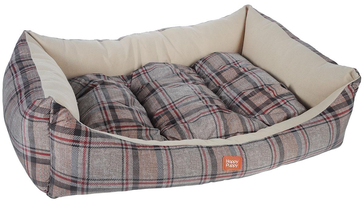 Лежак для собак Happy Puppy Классик-4, 64 x 49 x 15 смHP-170004-4Мягкий лежак Happy Puppy Классик-4 обязательно понравится вашему питомцу. Он выполнен из высококачественного хлопка и полиэстера с водоотталкивающей пропиткой, а наполнитель - из мягкого холлофайбера. Такой материал не теряет своей формы долгое время. Лежак оснащен мягкой съемной подстилкой. Высокие бортики обеспечат вашему любимцу уют. За изделием легко ухаживать, его можно стирать вручную. Мягкий лежак станет излюбленным местом вашего питомца, подарит ему спокойный и комфортный сон, а также убережет вашу мебель от шерсти. Размер: 64 x 49 x 15 см.
