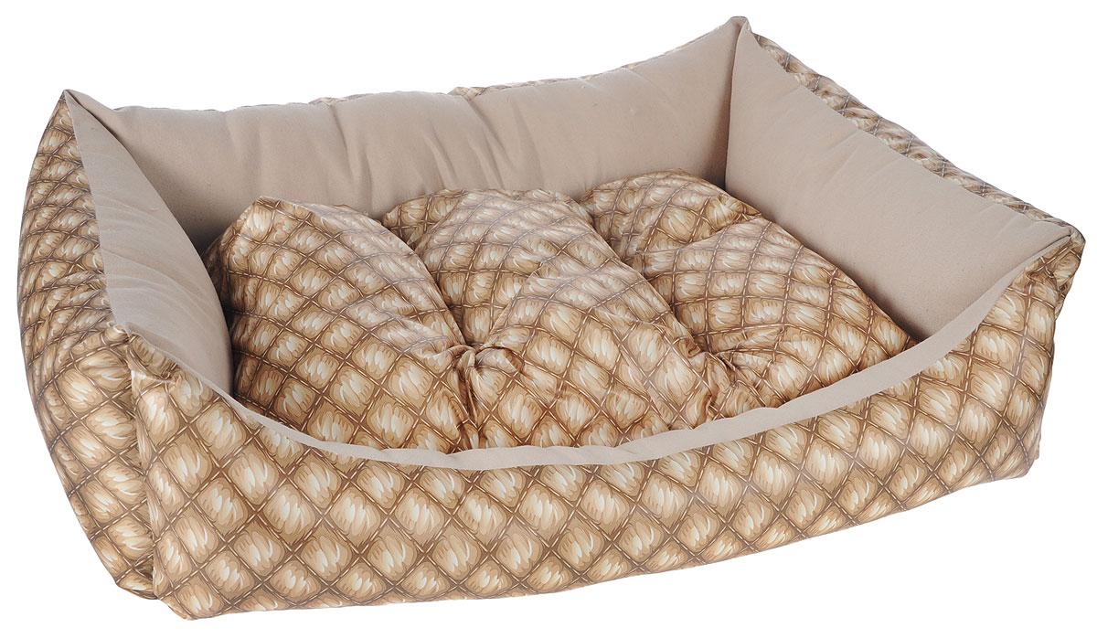 Лежак для собак Happy Puppy Шотландия-4, 64 x 49 x 15 смHP-170008-4Мягкий лежак Happy Puppy Шотландия-4 обязательно понравится вашему питомцу. Он выполнен из высококачественного хлопка, а наполнитель - из мягкого холлофайбера. Такой материал не теряет своей формы долгое время. Лежак оснащен мягкой съемной подстилкой. Основание изделия выполнено из полиэстера с водоотталкивающей пропиткой. Высокие бортики обеспечат вашему любимцу уют. За изделием легко ухаживать, его можно стирать вручную. Мягкий лежак станет излюбленным местом вашего питомца, подарит ему спокойный и комфортный сон, а также убережет вашу мебель от шерсти.