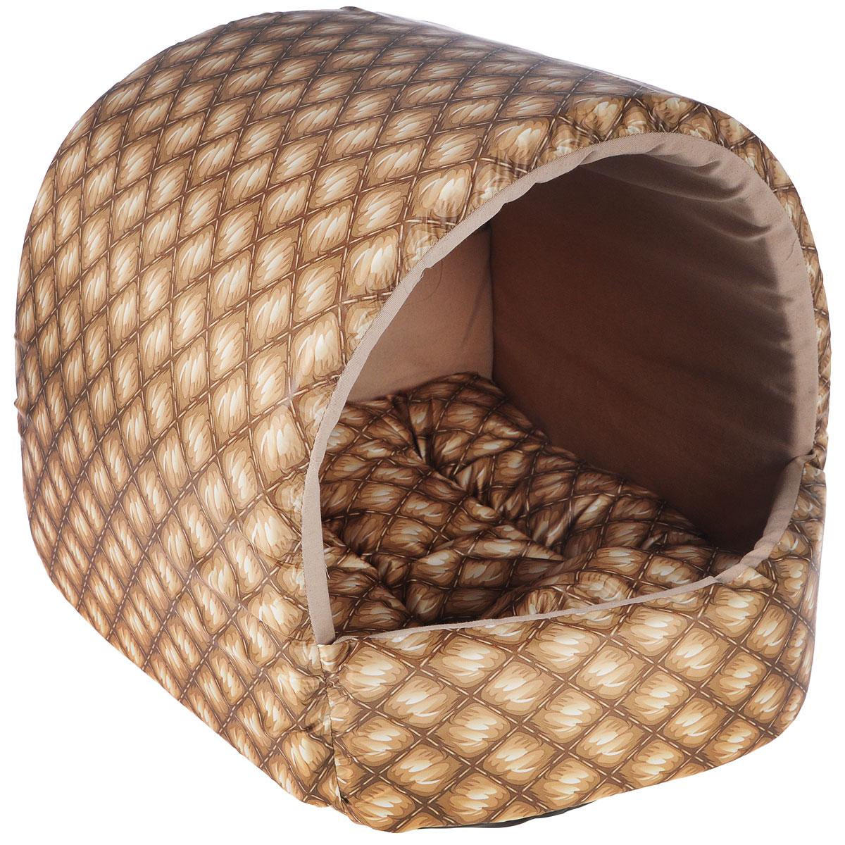 Домик для собак Happy Puppy Шотландия, цвет: песочный, бежевый, 37 x 37 x 40 смHP-170009Домик для собак Happy Puppy Шотландия обязательно понравится вашему питомцу. Он предназначен для собак мелких пород и изготовлен из полиэстера с водоотталкивающей пропиткой, внутри - мягкий наполнитель из мебельного поролона. Стежка надежно удерживает наполнитель внутри и не позволяет ему скатываться. Домик очень удобный и уютный, он оснащен мягкой съемной подстилкой с наполнителем из холлофайбера. Ваш любимец сразу же захочет забраться внутрь, там он сможет отдохнуть и спрятаться. Компактные размеры позволят поместить домик, где угодно, а приятная цветовая гамма сделает его оригинальным дополнением к любому интерьеру. Размер подстилки: 37 х 37 х 40 см. Внутренняя высота домика (с учетом подстилки): 27 см. Толщина стенки: 3 см.