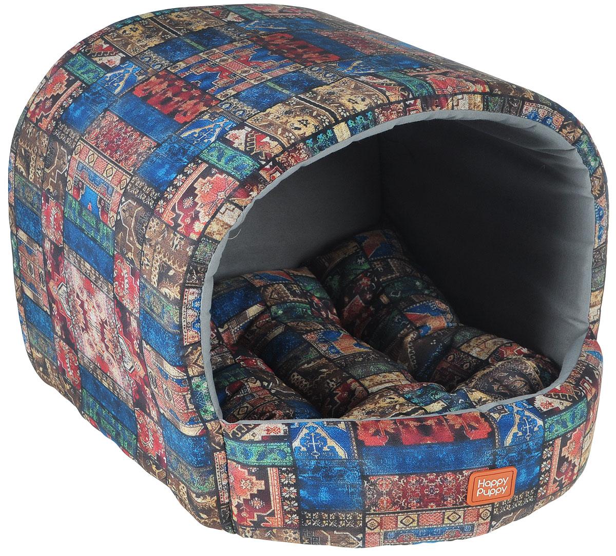 Домик для собак Happy Puppy Восточные сказки, 37 x 37 x 40 смHP-160064Домик для собак Happy Puppy Восточные сказки обязательно понравится вашему питомцу. Он предназначен для собак мелких пород и изготовлен из полиэстера и хлопка, внутри - мягкий наполнитель из мебельного поролона. Стежка надежно удерживает наполнитель внутри и не позволяет ему скатываться. Домик очень удобный и уютный, он оснащен мягкой съемной подстилкой с наполнителем из холлофайбера. Ваш любимец сразу же захочет забраться внутрь, там он сможет отдохнуть и спрятаться. Компактные размеры позволят поместить домик, где угодно, а приятная цветовая гамма сделает его оригинальным дополнением к любому интерьеру. Размер подстилки: 37 х 37 х 40 см. Внутренняя высота домика (с учетом подстилки): 27 см. Толщина стенки: 3 см.