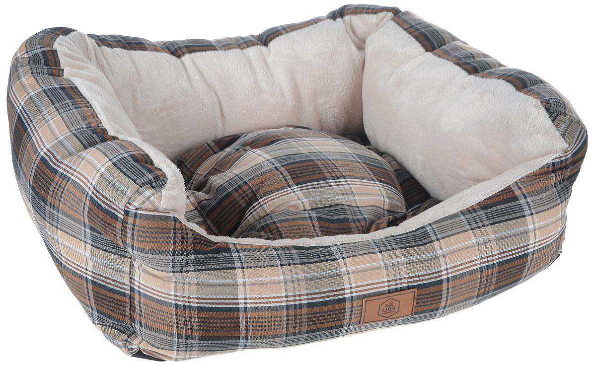 Лежанка для собак Lion Manufactory Модерн, с подушкой, цвет: коричневый, бежевый, черный, 55 х 50 х 12 смLM4694-002_коричневый,бежевый,крупная клеткаЛежанка для собак Lion Manufactory Модерн, с подушкой, цвет: коричневый, бежевый, 55 х 50 х 12 см
