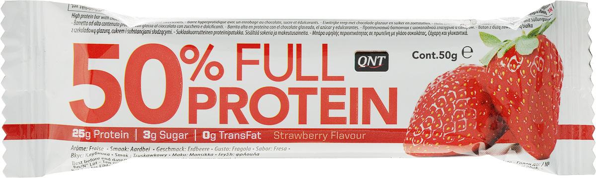QNT Батончик 50% Full Prot bar, экзотик, клубника, 50 гQNT0984Протеиновый батончик на основе 50% протеина ( изолят протеина и концентрированный сывороточный протеин): 25 гр в каждом батончике! Подобное соотношение белков оптимально для создания и поддержки мышечной массы. Без лишних жиров (0% транс жиров) и всего 3 гр сахара в каждом батончике!