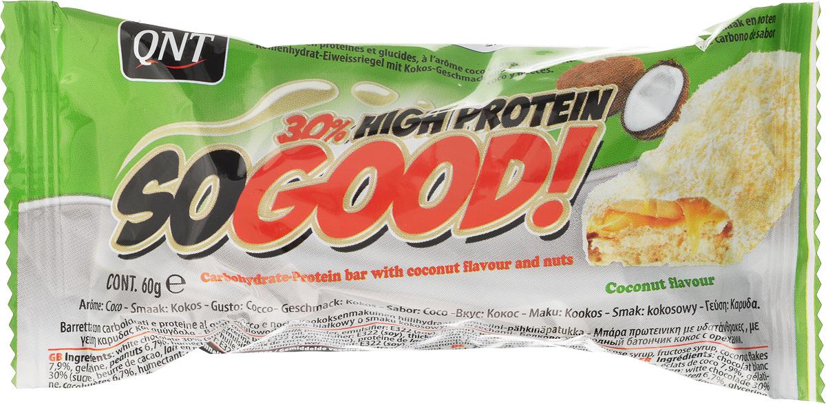 QNT Шоколадный батончик Кью Эн Ти СоГуд, Кокос, 60 гQNT1132SO GOOD BAR - это великолепный протеиновый батончик на молоке, который позволит Вам насладиться прекрасным сочетанием карамели и арахиса. Батончик очень сочный и содержит 30% сывороточного белка наряду со сбалансированной питательной ценностью.