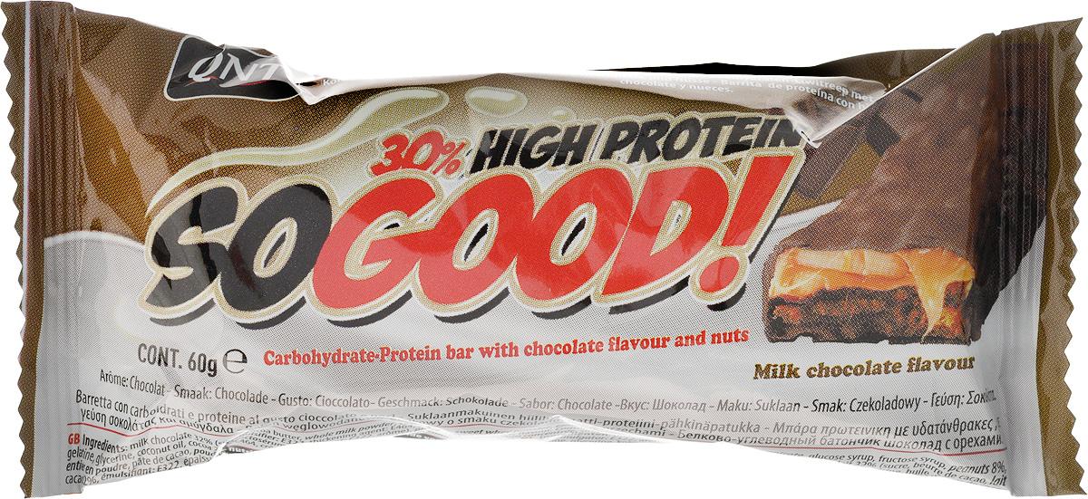 QNT Шоколадный батончик Кью Эн Ти СоГуд, Молочный шоколад, 60 гQNT1133SO GOOD BAR - это великолепный протеиновый батончик на молоке, который позволит Вам насладиться прекрасным сочетанием карамели и арахиса. Батончик очень сочный и содержит 30% сывороточного белка наряду со сбалансированной питательной ценностью.