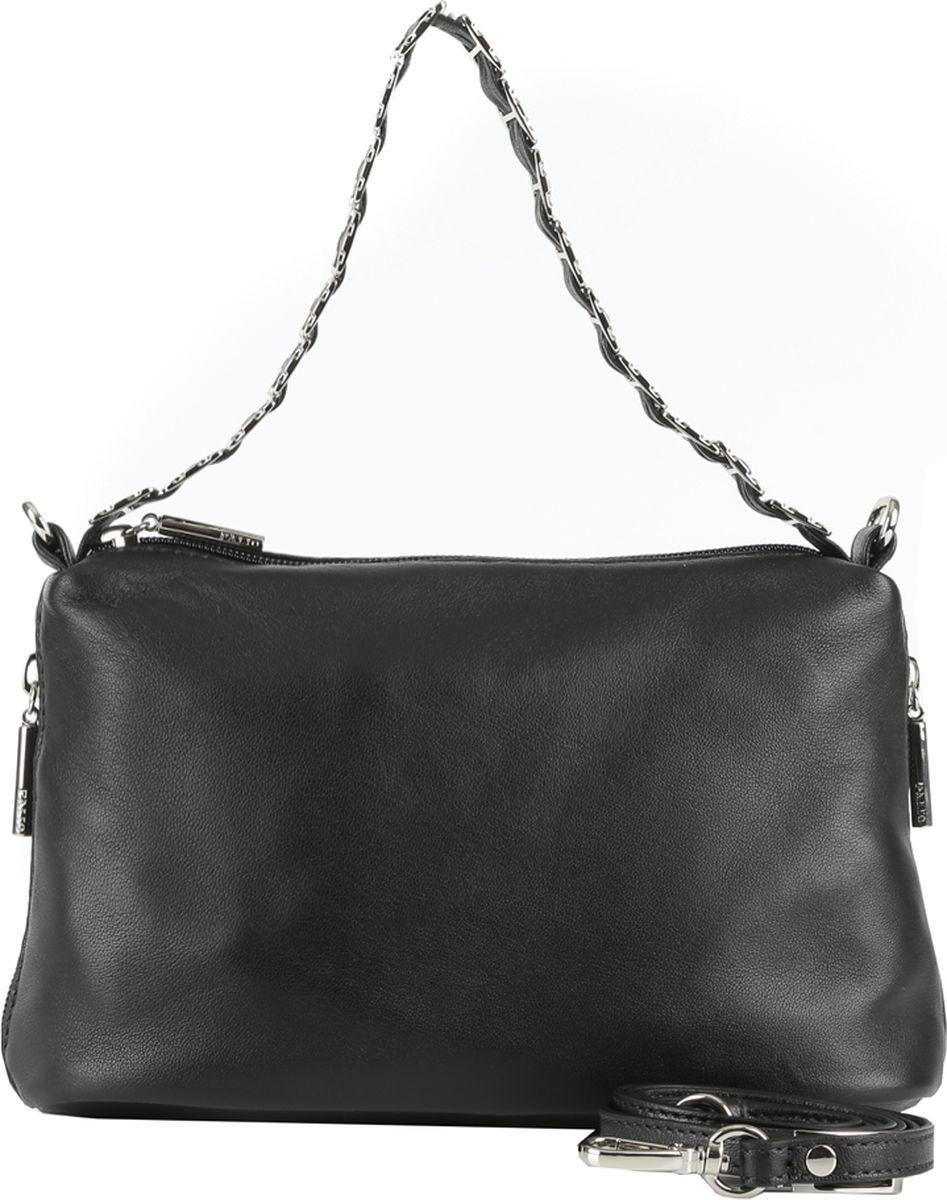 Сумка женская Palio, цвет: черный. 1723A1-0181723A1-018 blackРоскошная женская сумка кросс-боди Palio выполнена из натуральной плотной кожи , которая держит форму и имеет невероятно мягкую и приятную на ощупь фактуру. Классический черный цвет и стильная фурнитура в серебряном цвете помогут дополнить и завершить любой утонченный образ. Благодаря съемному плечевому ремню и изысканной дизайнерской ручки аксессуар станет верным спутником на вечерних встречах и фуршетах. Лаконичный дизайн подчеркнет не только ваш великолепный вкус, но и внесет нотки итальянского шика в ваш гардероб. Кросс-боди имеет одно вместительное отделение, которое закрывается на прочную молнию. Внутри сумки вы с легкостью сможете расположить свой сотовый телефон и другие женские мелочи с помощью удобных карманов. На лицевой части расположен глубокий отдел на молнии с кожаным поводком.