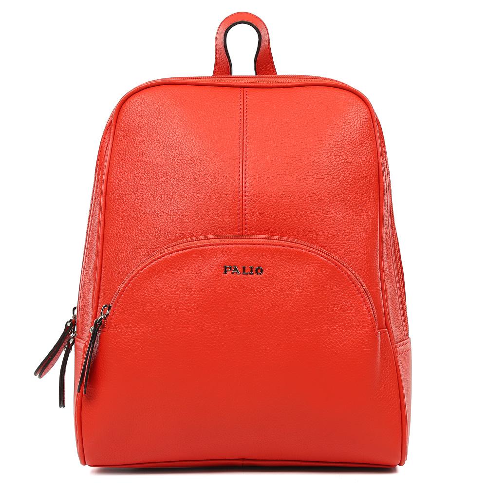 Рюкзак женский Palio, цвет: оранжевый. 15089A-35315089A-353Элегантный женский рюкзак от итальянского бренда Palio выполнен из натуральной кожи, которая имеет мягкую и приятную на ощупь фактуру. Насыщенный и яркий красный цвет станет изюминкой любой цветовой гаммы, поэтому модель будет универсальным аксессуаром, подходящим под стильные весенне-летние образы. Лаконичный дизайн, удобные ручки, длинные кожаные поводки и фурнитура в серебряном цвете, - все это превращает изделие в ультрамодный рюкзак, который подчеркнет ваш уникальный стиль. Внутри вы сможете разместить мелкие вещи с помощью кармана, который закрывается на молнию. На тыльной части рюкзака дизайнеры разместили удобное внутреннее отделение с кожаным поводком. Прочные и тонкие ручки регулируются.
