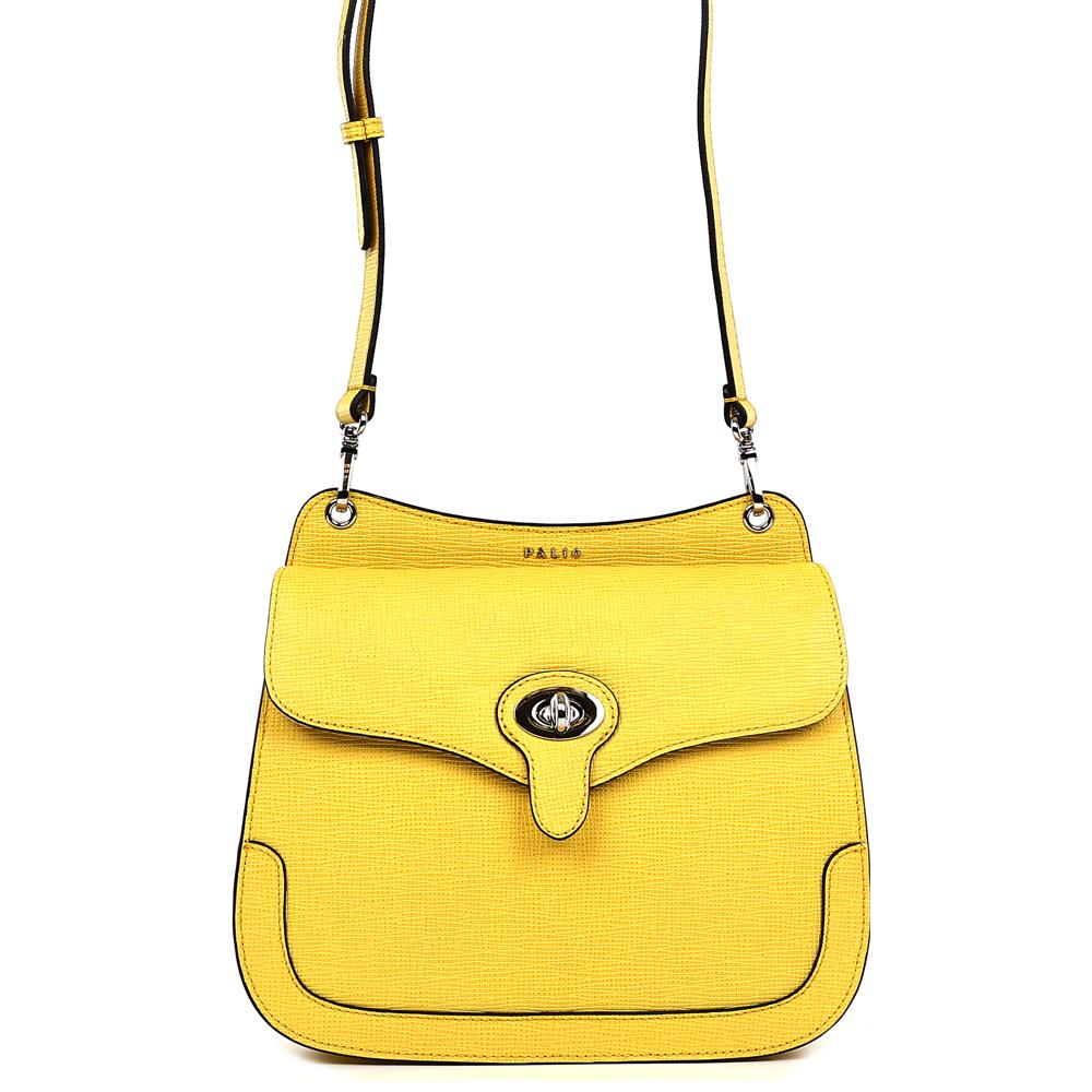 Сумка женская Palio, цвет: желтый. 15090A-W1-553/12315090A-W1-553/123 yellowСтильная женская сумка кросс-боди Palio выполнена из натуральной плотной кожи , которая держит форму и имеет приятную на ощупь фактуру. Насыщенный желтый цвет, стильная форма и ультрамодное тиснение на коже помогут дополнить и завершить любой утонченный образ. Изысканное крепление ручек и фурнитура в серебряном оттенке подчеркнет не только ваш великолепный вкус, но и внесет нотки элегантного итальянского шика в ваш гардероб. Кросс-боди имеет одно вместительное отделение, которое закрывается на удобный замок. Внутри сумки вы с легкостью сможете расположить свой сотовый телефон и другие женские мелочи с помощью удобного кармана. На тыльной части модели расположен отдел на молнии с кожаным поводком. Сумка компактна и не вмещает формат А4, длина плечевого ремня регулируется.