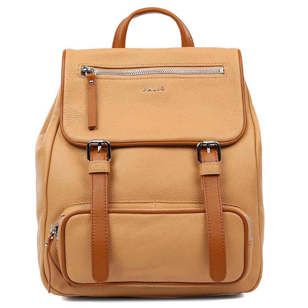 Рюкзак женский Palio, цвет: песочный. 15098A1-W2-255/56615098A1-W2-255/566Молодежный женский рюкзак от итальянского бренда Palio выполнен из натуральной кожи, которая имеет мягкую и приятную на ощупь фактуру. Элегантное сочетание коричневого и бежевого оттенка дополнит любую цветовую гамму, поэтому модель станет универсальным аксессуаром, подходящим под различные современные образы. Дизайнерские карманы, удобные ручки, длинные кожаные поводки и фурнитура в серебряном цвете, - все это превращает изделие в ультрамодный рюкзак, который подчеркнет ваш уникальный стиль. Внутри вы сможете разместить документы и папки формата А4, а также мелкие вещи с помощью кармана, который закрывается на молнию. На тыльной части рюкзака дизайнеры разместили удобное внутреннее отделение с кожаным поводком. Прочные и тонкие ручки регулируются.