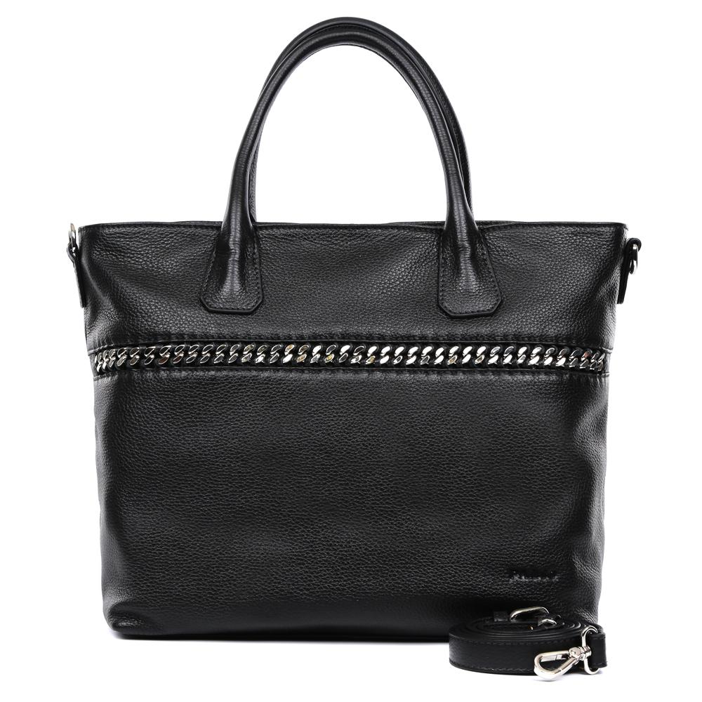 Сумка женская Palio, цвет: черный. 14998A3-01814998A3-018Элегантная женская сумка Palio выполнена из натуральной плотной кожи, которая держит форму и имеет пористую фактуру. Если вы любите роскошный, но не вычурный стиль, эта модель создана специально для вас. Насыщенный черный цвет, лаконичный дизайн и стильная металлическая вставка - все это придаст любому образу нотки современности и яркости. Фурнитура выполненная в серебряном цвете и кожаные поводки завершают дизайн модели, делая его ультрасовременным, но в тоже время очень женственным. Сумка имеет одно вместительное отделение, которое разделено карманом на молнии, вы с легкостью сможете носить с собой нужные папки и документы формата A4. Внутри аксессуара вы расположите свой сотовый телефон и другие женские мелочи за счет удобных карманов. На тыльной стороне дизайнеры разместили вместительный карман, который закрывается на стильную молнию со стальным поводком. В комплекте аксессуар имеет тонкий кожаный ремень, с помощью которого, вы сможете стать самой неотразимой и...