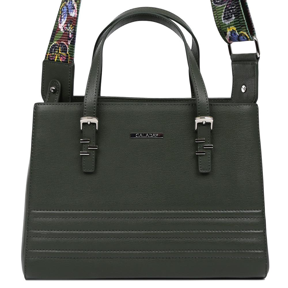 Сумка женская Galaday, цвет: темно-зеленый. GD7145QGD7145Q-greenЭлегантная женская сумка Galaday изготовлена из качественной натуральной кожи. Модель с одним отделением закрывается на застежку-молнию. Внутри имеются дополнительные карманы и карма-средник на молнии. С внешней задней стороны сумки расположен врезной карман на застежке-молнии. Сумка оснащена удобными ручками и плечевым ремнем.