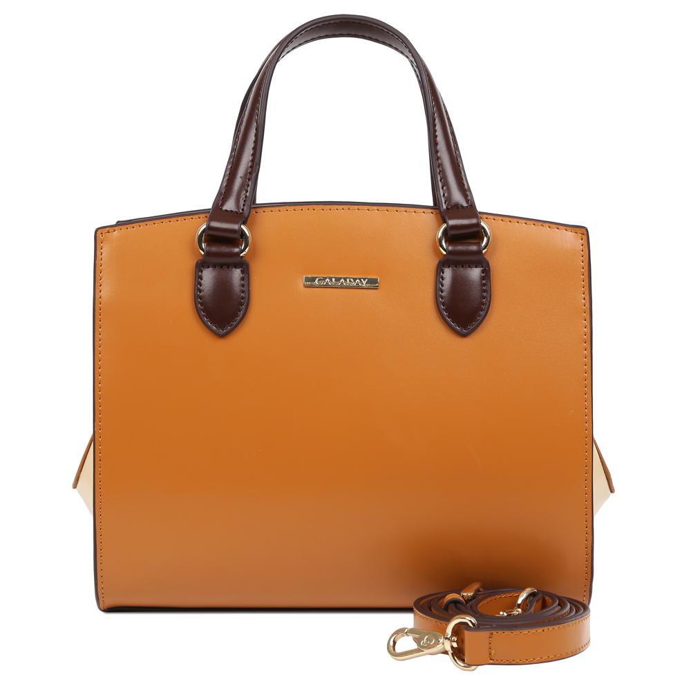 Сумка женская Galaday, цвет: коричневый. GD7378QGD7378Q-l.brownЭлегантная женская сумка Galaday изготовлена из качественной натуральной кожи. Модель с одним отделением закрывается на застежку-молнию. Внутри имеются дополнительные карманы. С внешней задней стороны сумки расположен врезной карман на застежке-молнии. Сумка оснащена удобными ручками и плечевым ремнем, который можно регулировать по длине.