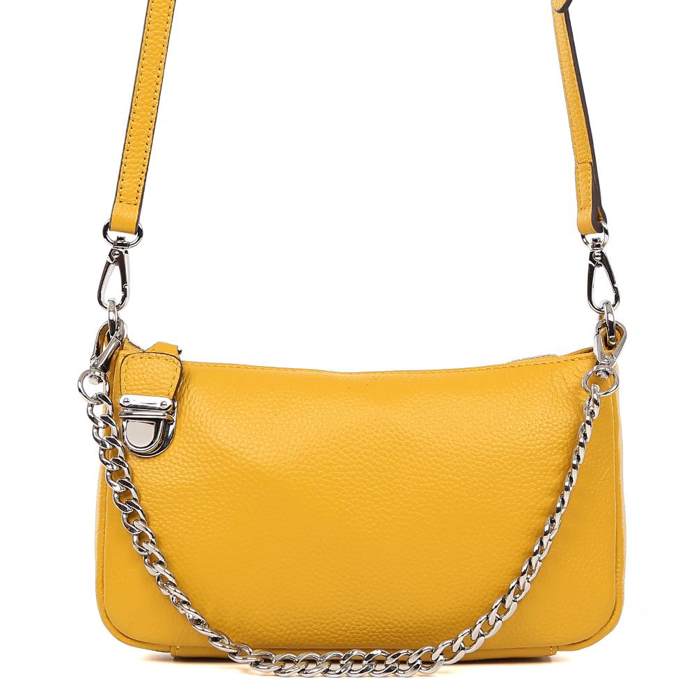 Сумка женская Fabretti, цвет: желтый. S1646S1646-yellowСумка женскаяй бренда FABRETTI из натуральной кожи