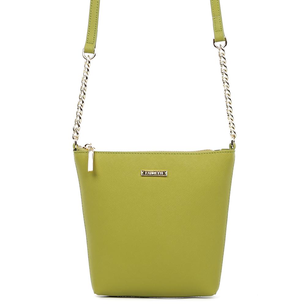 Сумка женская Fabretti, цвет: зеленый. S1822S1822-l.greenСумка женскаяй бренда FABRETTI из натуральной кожи