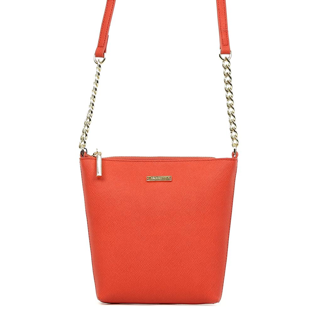 Сумка женская Fabretti, цвет: красный. S1822S1822-redСумка женскаяй бренда FABRETTI из натуральной кожи