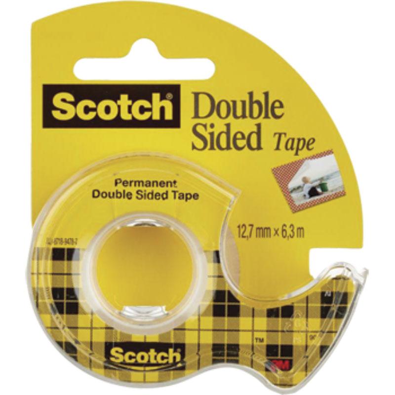 Scotch Двусторонняя клейкая лента на диспенсере 12,7 х 6300 мм136D-EEME_прозрачный/желтыйДвусторонняя клейкая лента Scotch на диспенсере идеально подходит для крепления легких объектов, приклеивания фотографий, плакатов, упаковки подарков. Для компактной клейкой ленты на маленьком диспенсере с пластиковым ножом, легко найдется место на рабочем столе в офисе и дома.