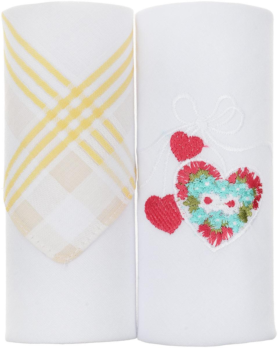 Платок носовой женский Zlata Korunka, 2 шт. 67004_желтая полоса, сердце. Размер 28 х 27 см67004_желтая полоса, сердцеПодарочная коробка с двумя красиво оформленными платками Zlata Korunka, задает нежное позитивное настроение. На одном из платков принт, на другом вышивка, оба платка имеют стандартную для своих функций площадь. Практичный и красивый подарок для самого себя или близких.
