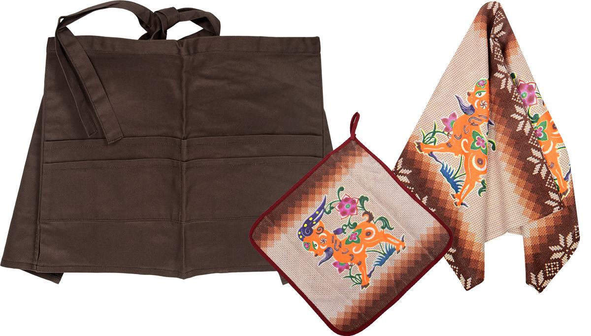 Комплект кухонный Soavita Козочка, 3 предмета. 7751277512Комплект кухонный Soavita Козочка состоит из полотенца, салфетки и передника. Полотенце и салфетка выполнены из полиэстера с добавлением полиамида и дополнены красочным рисунком. Салфетка по краю окантована и снабжена петелькой. Изделия быстро впитывают влагу, легко стираются и обладают длительным сроком службы. Передник изготовлен из 100% хлопка, он снабжен завязками для крепления на талии и 4 карманами для аксессуаров. В кухонном комплекте Soavita Козочка есть весь необходимый текстиль для кухни. Такой набор порадует вас практичностью и функциональностью, а стильный яркий дизайн гармонично дополнит интерьер кухни. Размер салфетки: 30 х 30 см. Размер полотенца: 38 х 64 см. Размер передника: 67 х 32 см.