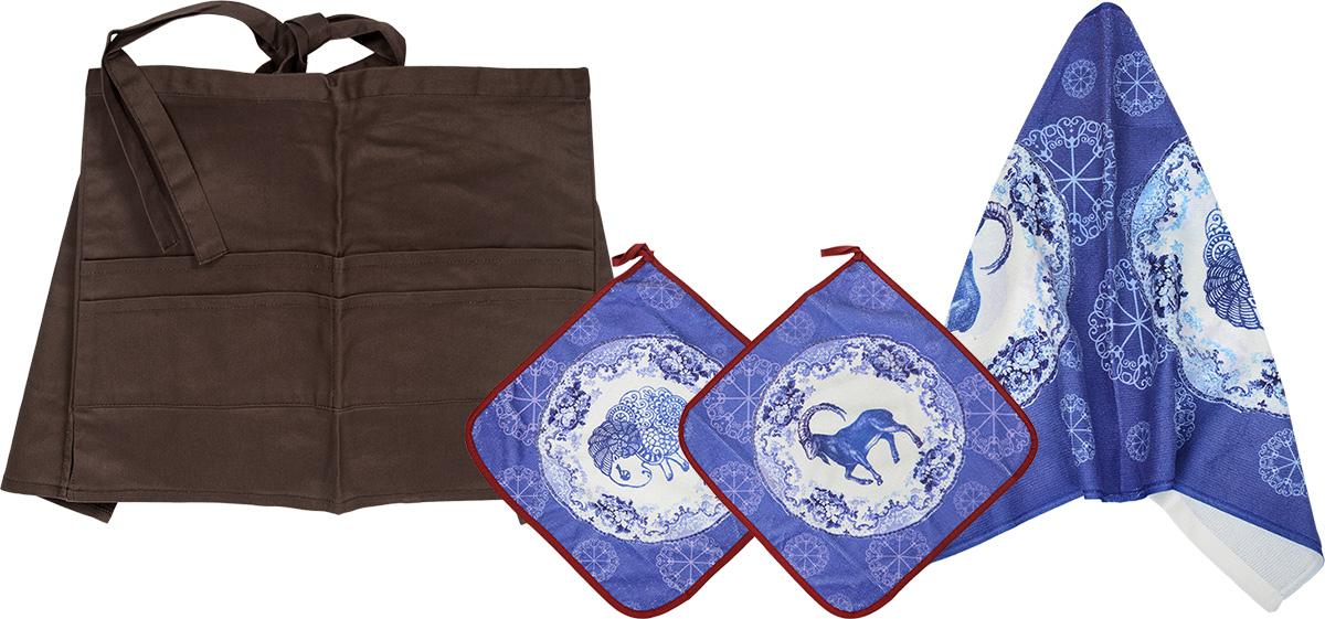 Комплект кухонный Soavita Овца, 4 предмета77518Комплект кухонный Soavita Овца состоит из полотенца, 2 салфеток и передника. Полотенце и салфетки выполнены из полиэстера с добавлением полиамида и дополнены красочным рисунком. Салфетки по краю окантованы и снабжены петелькой. Изделия быстро впитывают влагу, легко стираются и обладают длительным сроком службы. Передник изготовлен из 100% хлопка, он снабжен завязками для крепления на талии и 4 карманами для аксессуаров. В кухонном комплекте Soavita Овца есть весь необходимый текстиль для кухни. Такой набор порадует вас практичностью и функциональностью, а стильный яркий дизайн гармонично дополнит интерьер кухни. Размер салфеток: 30 х 30 см. Размер полотенца: 38 х 64 см. Размер передника: 67 х 32 см.