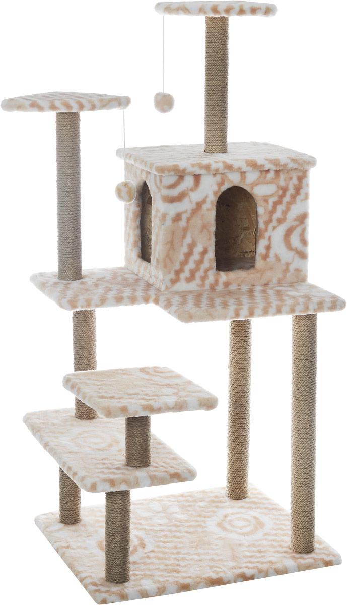 Игровой комплекс для кошек Меридиан Семейный, цвет: белый, бежевый, 70 х 65 х 150 смД162ЦвИгровой комплекс для кошек Меридиан Семейный выполнен из высококачественного ДВП и ДСП и обтянут искусственным мехом. Изделие предназначено для кошек. Ваш домашний питомец будет с удовольствием точить когти о специальные столбики, изготовленные из джута. А отдохнуть он сможет либо на полках, либо в домике. Сверху имеются 2 подвесные игрушки, которые привлекут внимание кошки к когтеточке. Общий размер: 70 х 65 х 150 см. Размер полок: 31 х 31 см, 26 х 26 см (2 полки), 59 х 24 см. Размер домика: 41 х 33 х 35 см.