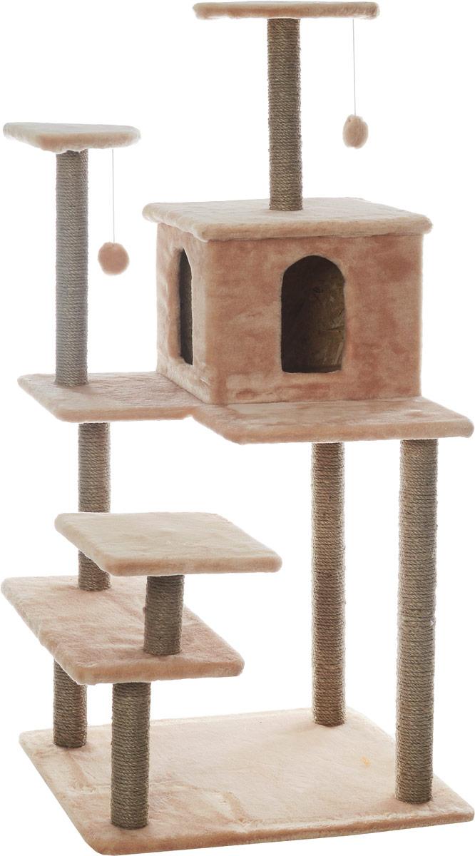 Игровой комплекс для кошек Меридиан Семейный, цвет: светло-коричневый, бежевый, 70 х 65 х 150 смД162СКИгровой комплекс для кошек Меридиан Семейный выполнен из высококачественного ДВП и ДСП и обтянут искусственным мехом. Изделие предназначено для кошек. Ваш домашний питомец будет с удовольствием точить когти о специальные столбики, изготовленные из джута. А отдохнуть он сможет либо на полках, либо в домике. Сверху имеются 2 подвесные игрушки, которые привлекут внимание кошки к когтеточке. Общий размер: 70 х 65 х 150 см. Размер полок: 31 х 31 см, 26 х 26 см (2 полки), 59 х 24 см. Размер домика: 41 х 33 х 35 см.