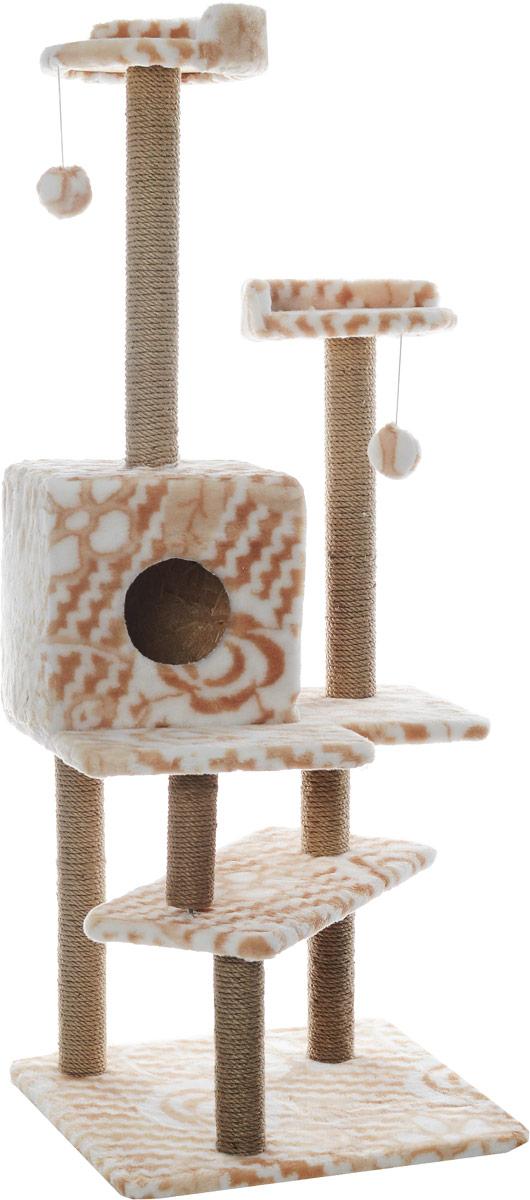 Игровой комплекс для кошек Меридиан Лестница, цвет: белый, бежевый, 56 х 50 х 142 смД151ЦвИгровой комплекс для кошек Меридиан Лестница выполнен из высококачественного ДВП и ДСП и обтянут искусственным мехом. Изделие предназначено для кошек. Ваш домашний питомец будет с удовольствием точить когти о специальные столбики, изготовленные из джута. А отдохнуть он сможет либо на полках, либо в домике. Общий размер: 56 х 50 х 142 см. Размер верхних полок: 27 х 27 см. Размер домика: 31 х 31 х 32 см.