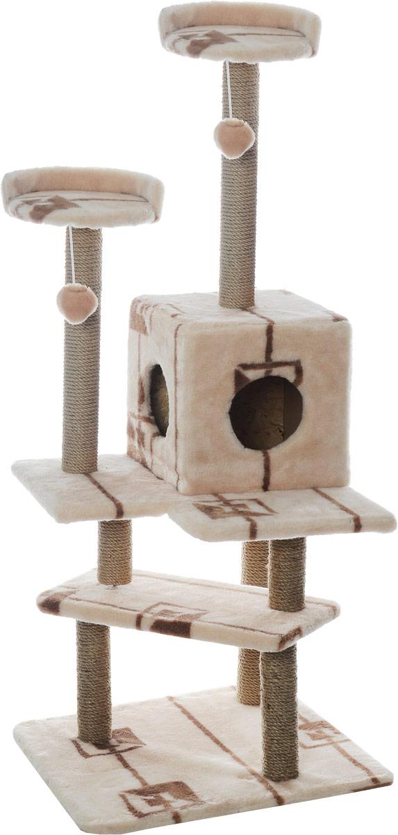 Игровой комплекс для кошек Меридиан Лестница, цвет: коричневый, бежевый, 56 х 50 х 142 смД151ГИгровой комплекс для кошек Меридиан Лестница выполнен из высококачественного ДВП и ДСП и обтянут искусственным мехом. Изделие предназначено для кошек. Ваш домашний питомец будет с удовольствием точить когти о специальные столбики, изготовленные из джута. А отдохнуть он сможет либо на полках, либо в домике. Общий размер: 56 х 50 х 142 см. Размер верхних полок: 27 х 27 см. Размер домика: 31 х 31 х 32 см.