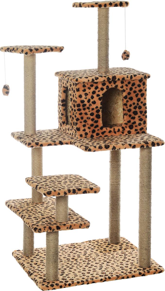 Игровой комплекс для кошек Меридиан Семейный, цвет: коричневый, черный, бежевый, 70 х 65 х 150 смД162ЛеИгровой комплекс для кошек Меридиан Семейный выполнен из высококачественного ДВП и ДСП и обтянут искусственным мехом. Изделие предназначено для кошек. Ваш домашний питомец будет с удовольствием точить когти о специальные столбики, изготовленные из джута. А отдохнуть он сможет либо на полках, либо в домике. Сверху имеются 2 подвесные игрушки, которые привлекут внимание кошки к когтеточке. Общий размер: 70 х 65 х 150 см. Размер полок: 31 х 31 см, 26 х 26 см (2 полки), 59 х 24 см. Размер домика: 41 х 33 х 35 см.