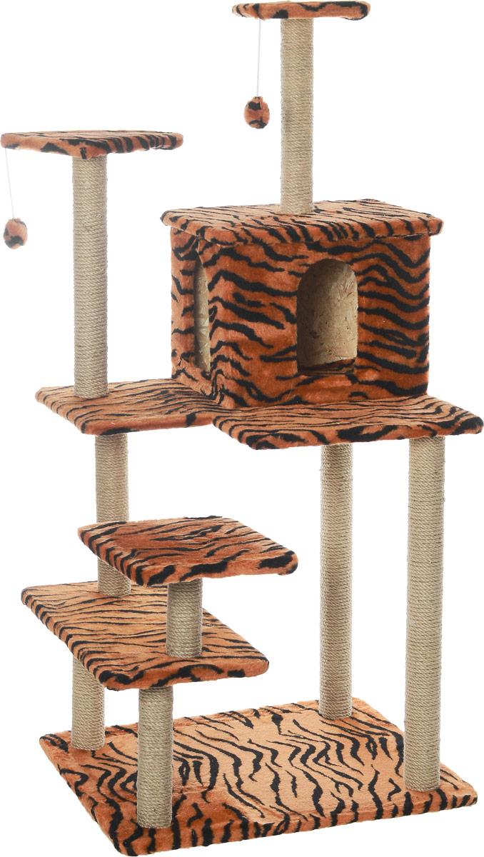 Комплекс для кошек Меридиан Семейный, цвет: тигровый, 70 х 65 х 150 смД162ТКомплекс для кошек Семейный, джут 700х650х1500 тигровый