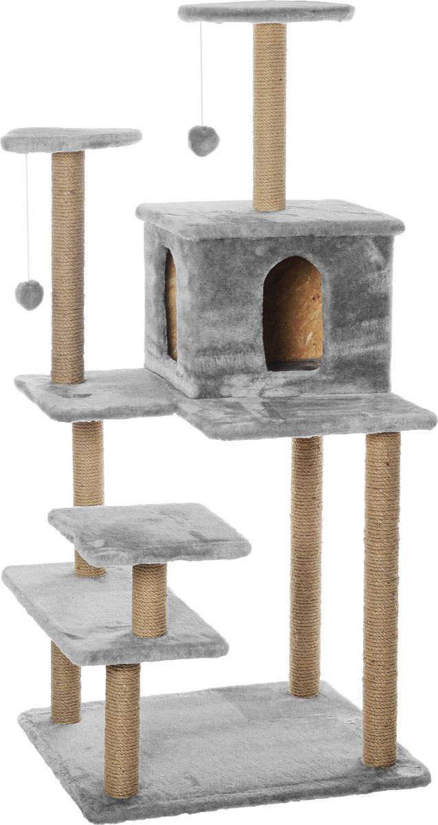 Игровой комплекс для кошек Меридиан Семейный, цвет: светло-серый, бежевый, 70 х 65 х 150 смД162ССИгровой комплекс для кошек Меридиан Семейный выполнен из высококачественного ДВП и ДСП и обтянут искусственным мехом. Изделие предназначено для кошек. Ваш домашний питомец будет с удовольствием точить когти о специальные столбики, изготовленные из джута. А отдохнуть он сможет либо на полках, либо в домике. Сверху имеются 2 подвесные игрушки, которые привлекут внимание кошки к когтеточке. Общий размер: 70 х 65 х 150 см. Размер полок: 31 х 31 см, 26 х 26 см (2 полки), 59 х 24 см. Размер домика: 41 х 33 х 35 см.