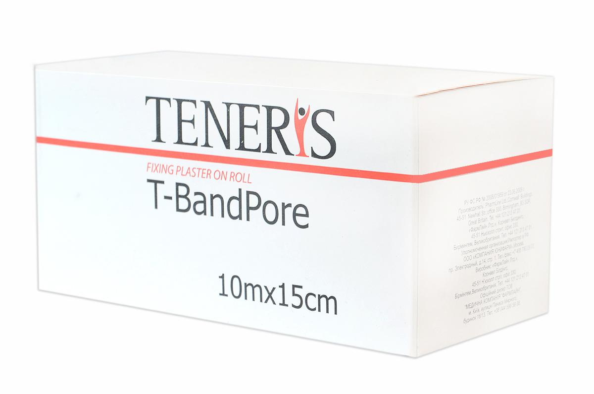 Teneris Адгезивный бинт на нетканной основе T-BandPore, д 75 х ш 75 х в 15295072Т-БендПор - фиксирующий пластырь в рулоне на основе хирургического нетканного материала. При наложении повторяет контуры частей тела, не нарушает подвижность суставов. Обладает высокой паро- и воздухопроницаемостью. Показания: для фиксации защитных повязок, тампонов, зондов и катеторов. Гипоаллергенный полиакрилатный клей отрывается без боли. Применение: отрезать необходимую часть пластыря, снять защитные полоски с клеевой поверхности и зафиксировать повязку. Менять ежедневно или по мере необходимости. Размер 10м х 15см