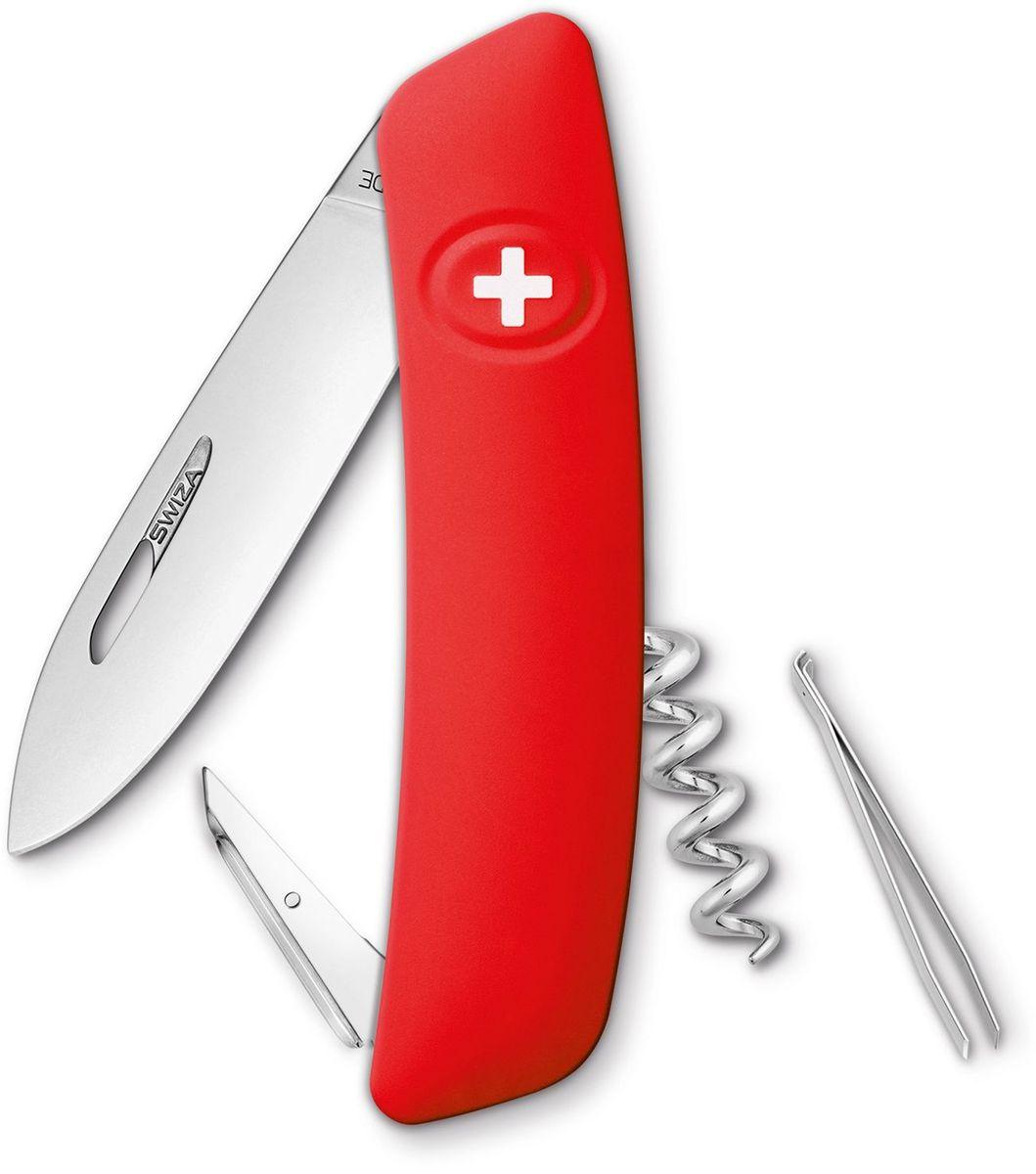 Нож швейцарский SWIZA D01, цвет: красный, длина клинка 7,5 смKNI.0010.1000Швейцарский нож (SWIZA D01) с его революционной формой и безопасной рукояткой, легко раскладываемой ручкой - самый удобный и простой в использовании швейцарский нож на все времена. Эргономично изогнутая форма ножа обеспечивает более легкий доступ к инструментам, а пазы позволяют легко их открывать, как левой, так и правой рукой. Пожизненная гаратния на ножи SWIZA обеспечивают долговременное использование 1. нож перочинный , 2. штопор, 3. ример/дырокол 4. шило, 5. безопасная блокировка лезвий, 6. пинцет