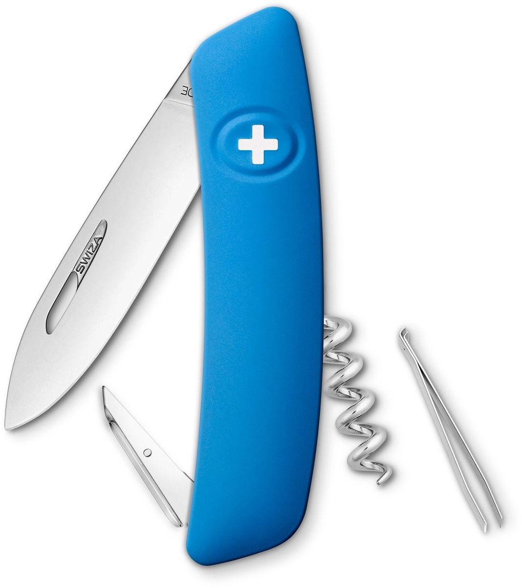 Нож швейцарский SWIZA D01, цвет: синий, длина клинка 7,5 смKNI.0010.1030Швейцарский нож (SWIZA D01) с его революционной формой и безопасной рукояткой, легко раскладываемой ручкой - самый удобный и простой в использовании швейцарский нож на все времена. Эргономично изогнутая форма ножа обеспечивает более легкий доступ к инструментам, а пазы позволяют легко их открывать, как левой, так и правой рукой. Пожизненная гаратния на ножи SWIZA обеспечивают долговременное использование 1. нож перочинный , 2. штопор, 3. ример/дырокол 4. шило, 5. безопасная блокировка лезвий, 6. пинцет