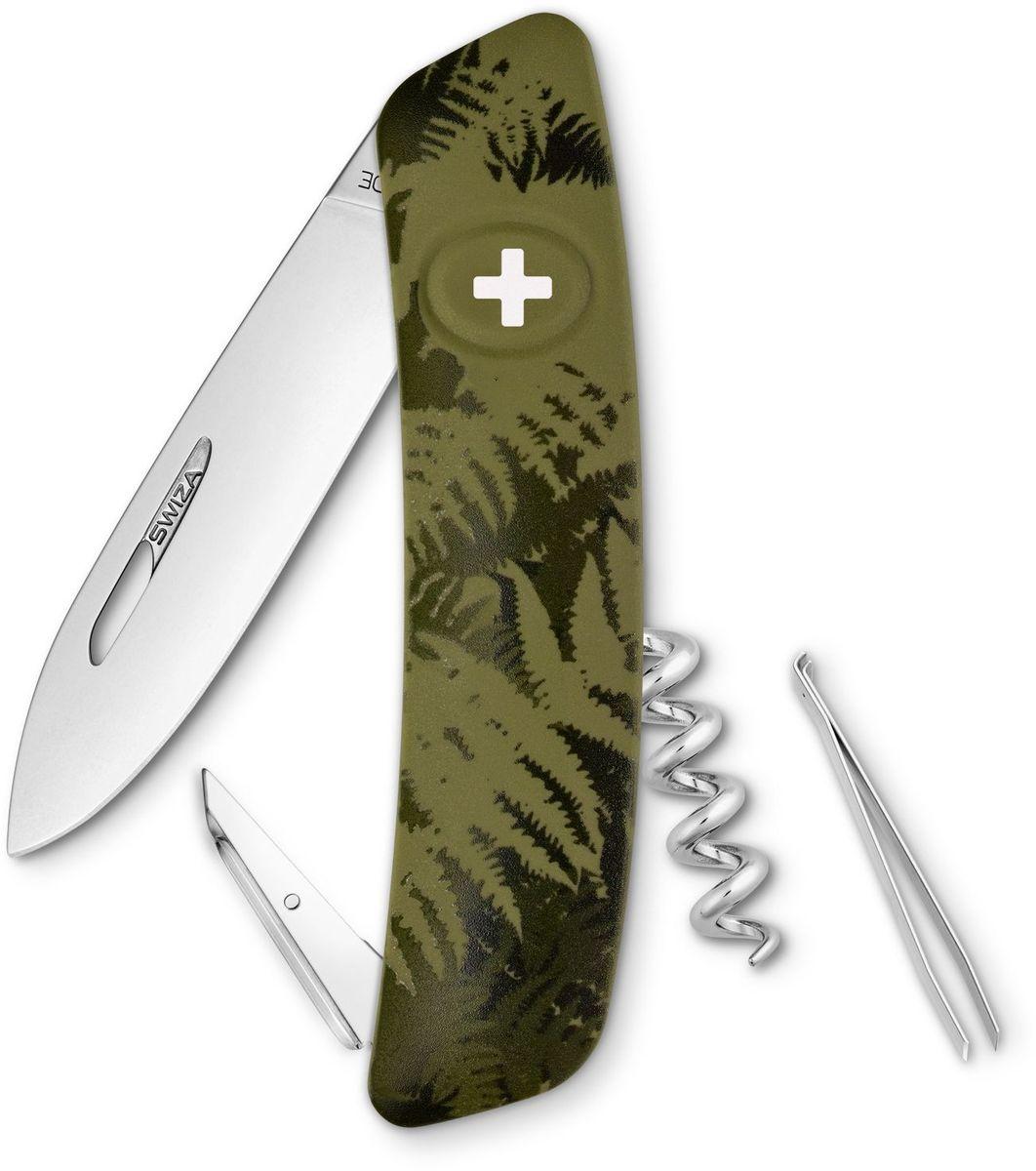 Нож швейцарский SWIZA C01, цвет: темно-зеленый, длина клинка 7,5 смKNI.0010.2050Швейцарский нож (SWIZA С01) с его революционной формой и безопасной рукояткой, легко раскладываемой ручкой - самый удобный и простой в использовании швейцарский нож на все времена. Эргономично изогнутая форма ножа обеспечивает более легкий доступ к инструментам, а пазы позволяют легко их открывать, как левой, так и правой рукой. Пожизненная гаратния на ножи SWIZA обеспечивают долговременное использование 1. нож перочинный , 2. штопор, 3. ример/дырокол 4. шило, 5. безопасная блокировка лезвий, 6. пинцет