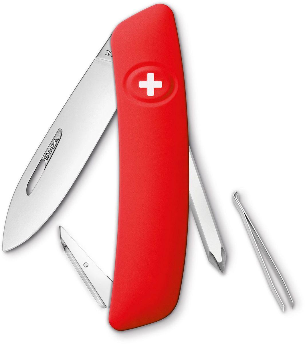 Нож швейцарский SWIZA D02, цвет: красный, длина клинка 7,5 смKNI.0020.1000Швейцарский нож (SWIZA D02) с его революционной формой и безопасной рукояткой, легко раскладываемой ручкой - самый удобный и простой в использовании швейцарский нож на все времена. Эргономично изогнутая форма ножа обеспечивает более легкий доступ к инструментам, а пазы позволяют легко их открывать, как левой, так и правой рукой. Пожизненная гаратния на ножи SWIZA обеспечивают долговременное использование 1. нож перочинный , 2. отвертка Phillips , 3. ример/дырокол 4. шило, 5. безопасная блокировка лезвий, 6. пинцет