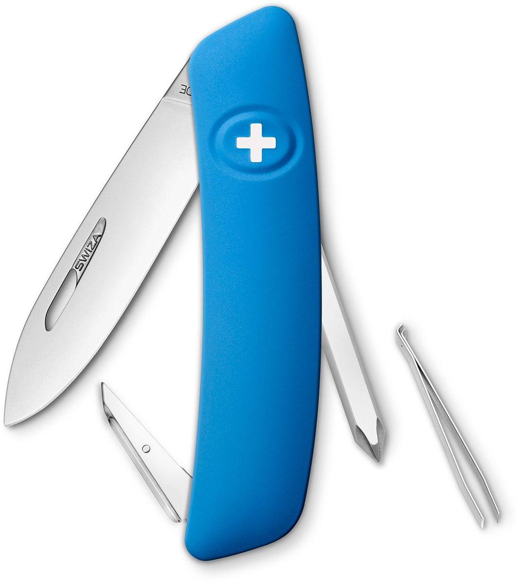 Нож швейцарский SWIZA D02, цвет: синий, длина клинка 7,5 смKNI.0020.1030Швейцарский нож (SWIZA D02) с его революционной формой и безопасной рукояткой, легко раскладываемой ручкой - самый удобный и простой в использовании швейцарский нож на все времена. Эргономично изогнутая форма ножа обеспечивает более легкий доступ к инструментам, а пазы позволяют легко их открывать, как левой, так и правой рукой. Пожизненная гаратния на ножи SWIZA обеспечивают долговременное использование 1. нож перочинный , 2. отвертка Phillips , 3. ример/дырокол 4. шило, 5. безопасная блокировка лезвий, 6. пинцет