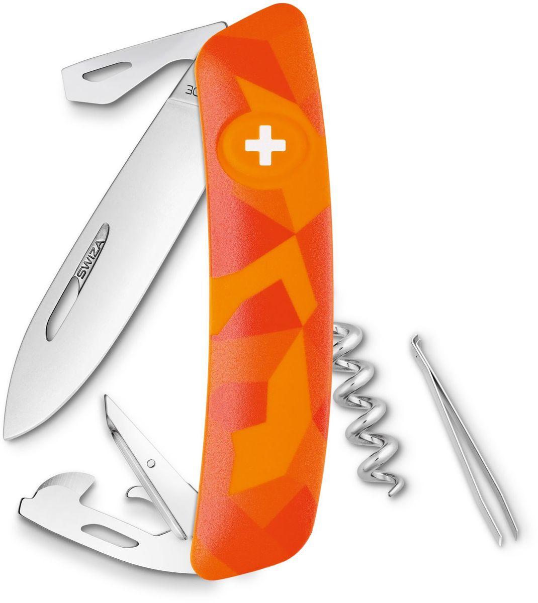 Нож швейцарский SWIZA С03, цвет: оранжевый, длина клинка 7,5 смKNI.0030.2070Швейцарский нож (SWIZA С03) с его революционной формой и безопасной рукояткой, легко раскладываемой ручкой - самый удобный и простой в использовании швейцарский нож на все времена. Эргономично изогнутая форма ножа обеспечивает более легкий доступ к инструментам, а пазы позволяют легко их открывать, как левой, так и правой рукой. 1. нож перочинный, 2.Штопор, 3. ример/дырокол 4. шило, 5. безопасная блокировка лезвий, 6. пинцет 7. консервный нож, 8 Wire Bender (для проволоки), 9 Отвертка №1, 10. Отвертка №3, 11. Открывалка для бутылок