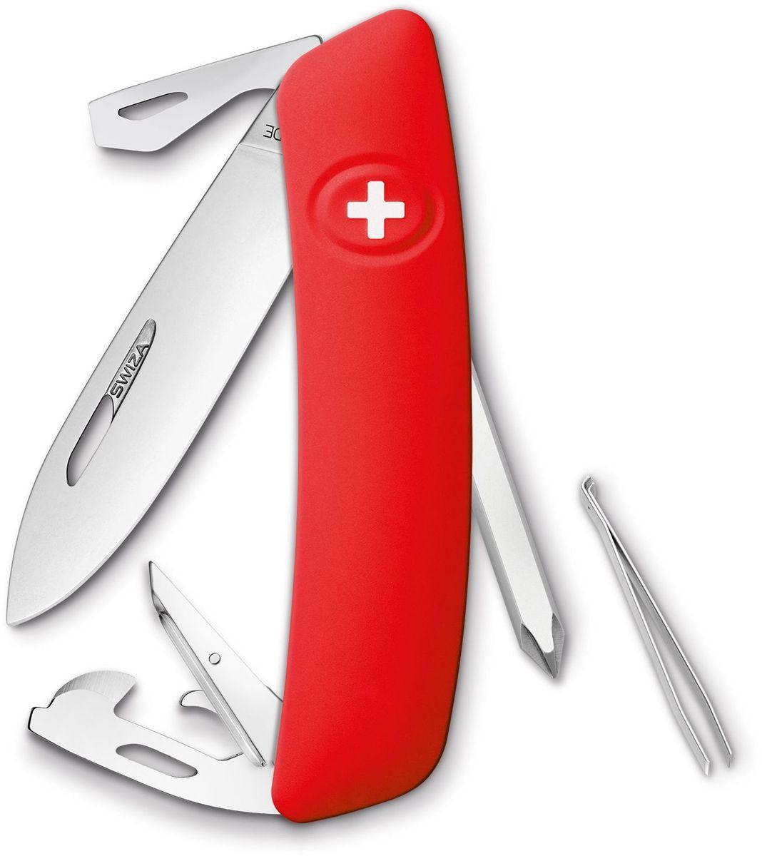Нож швейцарский SWIZA D04, цвет: красный, длина клинка 7,5 смKNI.0040.1000Швейцарский нож (SWIZA D04) с его революционной формой и безопасной рукояткой, легко раскладываемой ручкой - самый удобный и простой в использовании швейцарский нож на все времена. Эргономично изогнутая форма ножа обеспечивает более легкий доступ к инструментам, а пазы позволяют легко их открывать, как левой, так и правой рукой. 1. нож перочинный, 2. отвертка Phillips , 3. ример/дырокол 4. шило, 5. безопасная блокировка лезвий, 6. пинцет 7. консервный нож, 8 Wire Bender (для проволоки), 9 Отвертка №1, 10. Отвертка №3, 11. Открывалка для бутылок