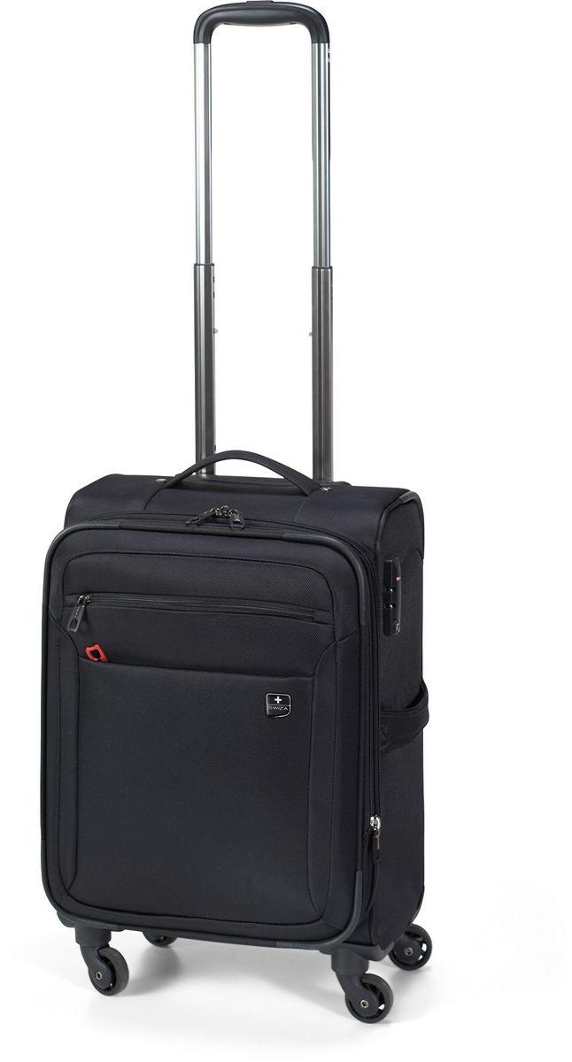 Чемодан SWIZA Eventual 25, цвет: черный, 72,5 х 44,5 х 31 смLSS.1000.02Стильный мягкий небольшой чемоданчик EVENTUAL подходит для ручной клади любого авиа перевозчика. Обеспечивая достаточно места для вещей для 2-3-х дневного путешествия со всеми наружными и внутренними карманами. С его колесиками, движущимися в разных направлениях, гарантируется легкая маневренность