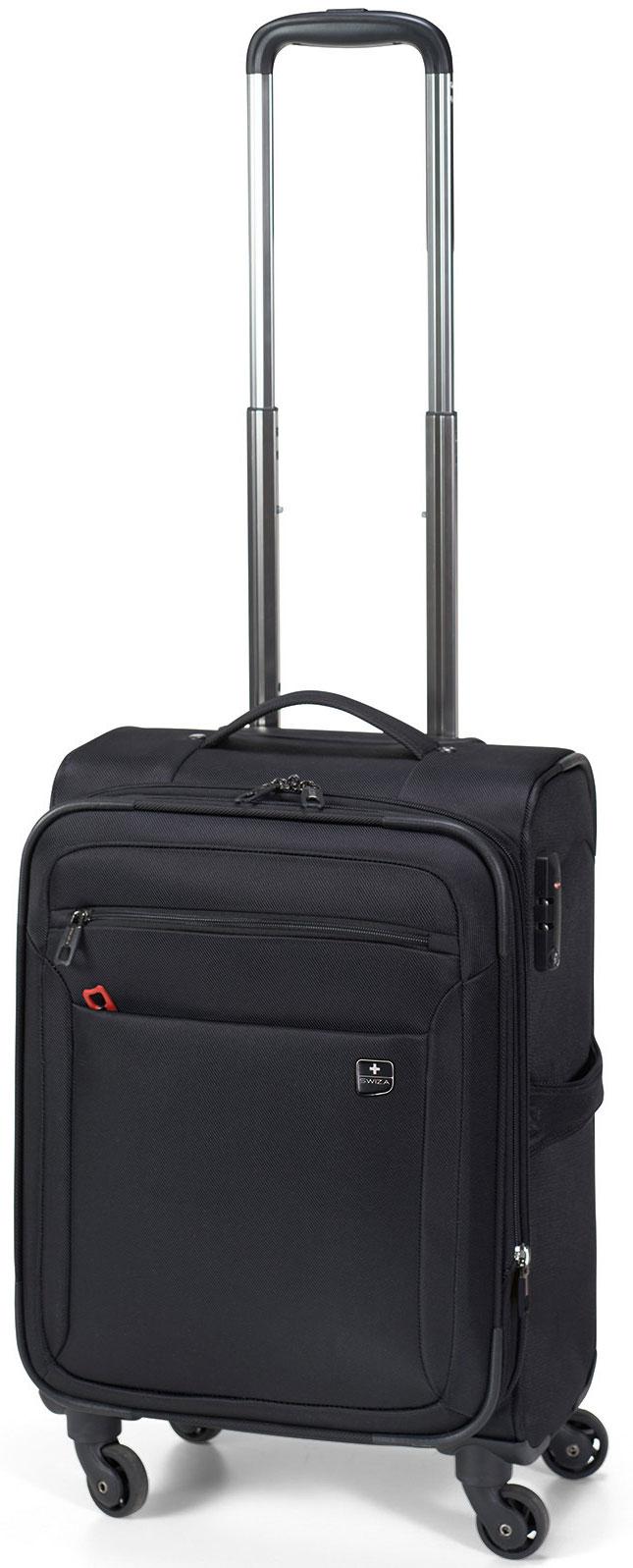 Чемодан SWIZA Eventual 20, цвет: черный, 54 х 36 х 23 смLSS.1000.01Стильный мягкий небольшой чемоданчик EVENTUAL подходит для ручной клади любого авиа перевозчика. Обеспечивая достаточно места для вещей для 2-3-х дневного путешествия со всеми наружными и внутренними карманами. С его колесиками, движущимися в разных направлениях, гарантируется легкая маневренность