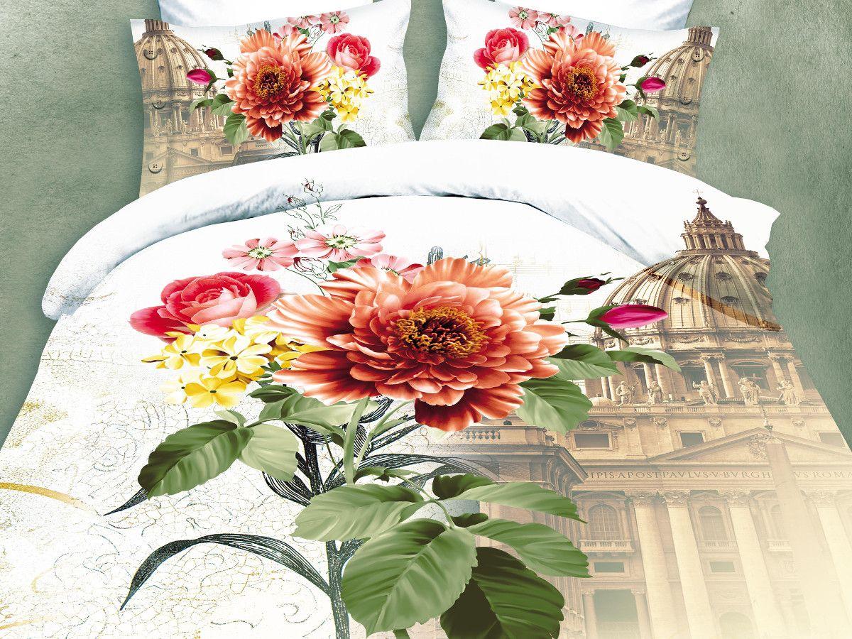 Комплект белья Cleo Римский букет, евро, наволочки 50х70, 70х7031/091-PSКомплект постельного белья из полисатина Cleo - это шелковая прохлада в любое время года! Тонкое, средней плотности, с шелковистой поверхностью и приятным блеском постельное белье устойчиво к износу, не выгорает, не линяет, рассчитано на многократные стирки. Двойная скрутка волокон позволяет получать довольно плотный, прочный на разрыв материал. Легко отстирывается, быстро сохнет и самой важно для хозяек - не мнется! Комплект состоит из пододеяльника, простыни и четырех наволочек.