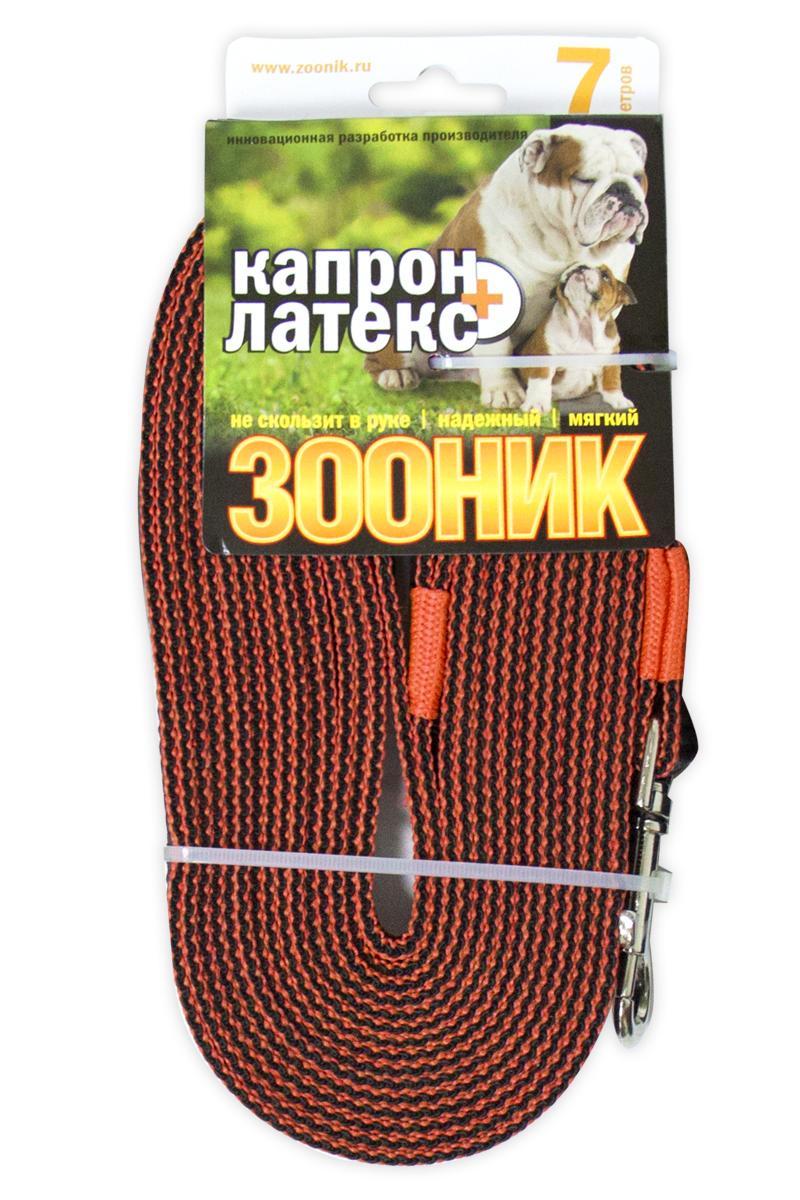 Поводок капроновый для собак Зооник, с двойной латексной нитью, цвет: оранжевый, ширина 2 см, длина 7 м11437-2Поводок для собак Зооник капроновый с двойной латексной нитью. Инновационная разработка Российского производителя. Удобный в использовании: надежный, мягкий, не скользит в руке. Идеально подходит для прогулок и дрессировки собак. Поводок - необходимый аксессуар для собаки. Ведь в опасных ситуациях именно он способен спасти жизнь вашему любимому питомцу. Иногда нужно ограничивать свободу своего четвероногого друга, чтобы защитить его или себя от неприятностей на прогулке. Длина поводка: 7 м.
