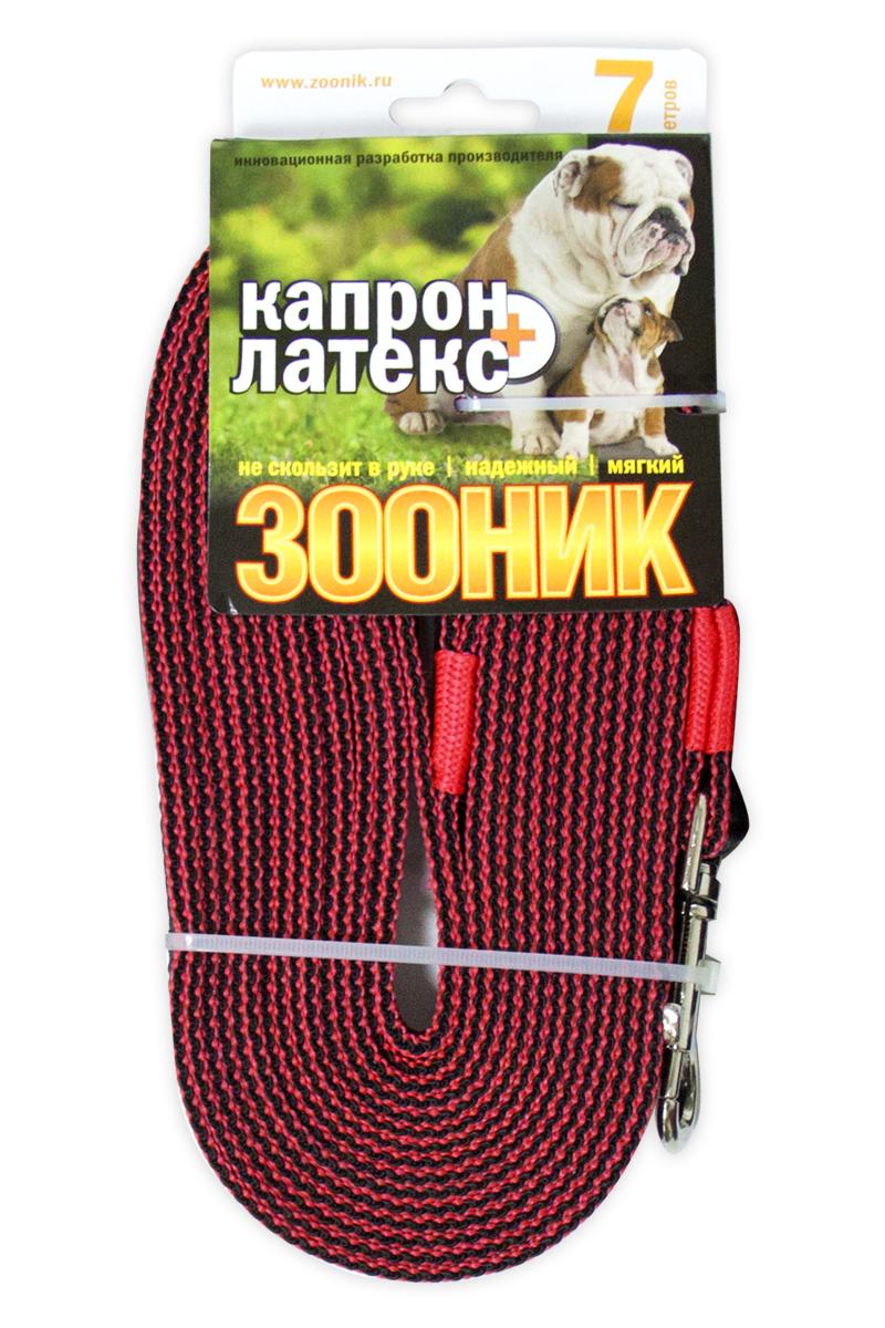 Поводок капроновый Зооник, с двойной латексной нитью, цвет: красный, ширина 20 мм, длина 7 м11437-4Поводок ЗООНИК капроновый с ДВОЙНОЙ ЛАТЕКСНОЙ НИТЬЮ. Инновационная разработка Российского производителя. Удобный в использовании: надежный, мягкий, не скользит в руке. Идеально подходит для прогулок и дрессировки собак. Длина поводка 7м. Ширина ленты 20мм. Цвет красный.