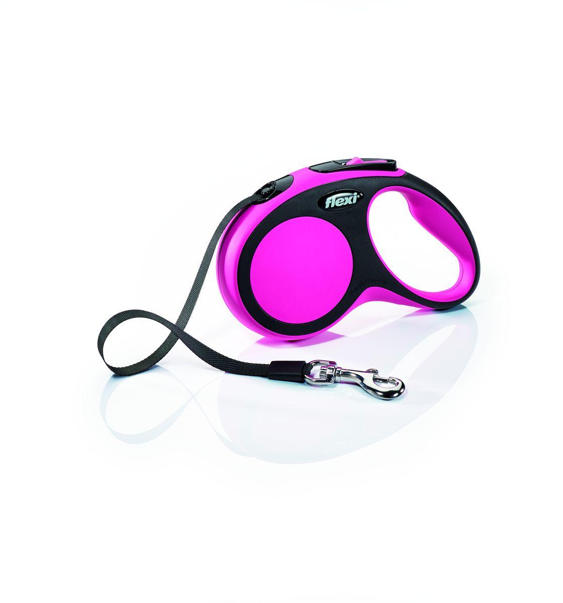 Поводок-рулетка Flexi New Comfort S, лента, для собак весом до 15 кг, цвет: черный, розовый, 5 м28117Ленточный поводок-рулетка обеспечивает собаке свободу движения, что идет на пользу здоровью и радует Вашего четвероногого друга. Рулетка очень проста в использовании. Оснащена кнопками кратковременной и постоянной фиксации. Рулетку можно оснастить - мультибоксом для лакомств или пакетиков для сбора фекалий, LED подсветкой корпуса. Прочный корпус, хромированная застежка и светоотражающие элементы. Лента поводка автоматически сматывается и поводок в процессе использования не провисает, не касается грунта и таким образом не пачкается и не перетирается. Поводок не нужно подбирать руками когда питомец подошел ближе, таким образом Ваши руки всегда чистые. Максимальный вес питомца: 15 кг Длина: 5 м
