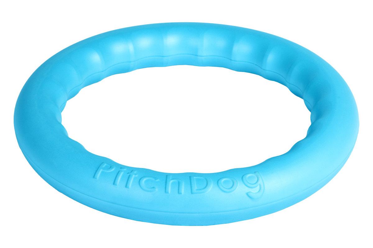 Кольцо игровое для аппортировки PitchDog, цвет: голубой, диаметр 28 см62382Инновационная игрушка для собак всех пород и возрастов, предназначенная как для повседневной игры, так и для использования в качестве идеального апортировочного снаряда для занятий Pitch & Go (питч энд гоу). Изготовлена из особого легкого и безопасного материала, который очень нравится собакам и позволяет играть с PitchDog (ПитчДог) как на суше, так и в воде. Диаметр 20 см.
