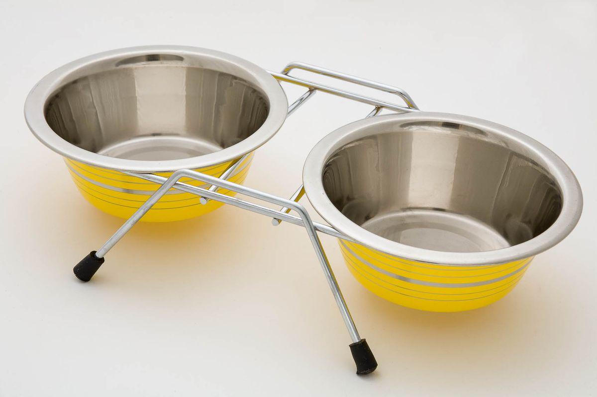 Миска для животных VM, двойная, на подставке, цвет: желтый, 2 х 950 мл3163b